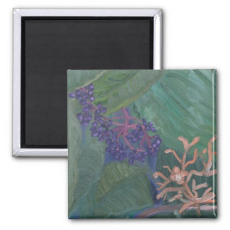 Jungle Flowers 2 Inch Square Magnet