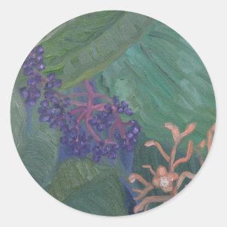 Jungle Flowers Classic Round Sticker