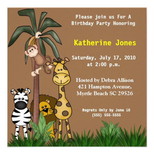 Jungle Friends Birthday Party  Invitation
