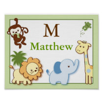 Jungle Friends Jungle Animal Wall Art Name Print