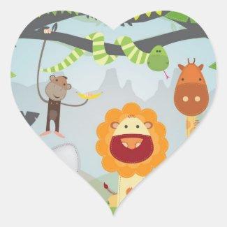 Jungle Fun Heart Sticker
