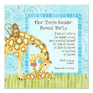 Jungle Giraffe Baby Boy Girl Twins Gender Reveal Card