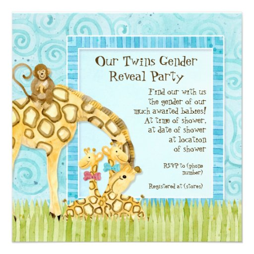 Jungle Giraffe Baby Boy Girl Twins Gender Reveal Custom Announcements
