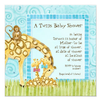Jungle Giraffe Baby Boy Girl Twins Shower Invite