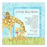 """Jungle Giraffe Baby Boy Girl Twins Shower Invite 5.25"""" Square Invitation Card"""