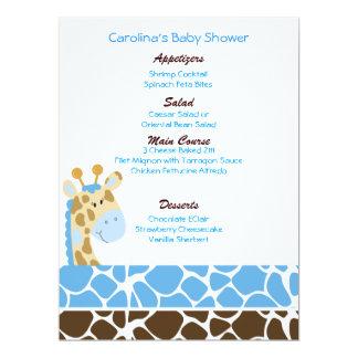 Jungle Giraffe Blue Custom Baby Shower Menu Card