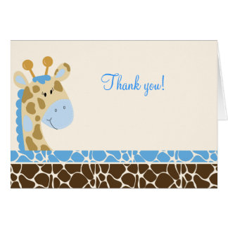 Jungle Giraffe (Blue) Folded Thank you notes
