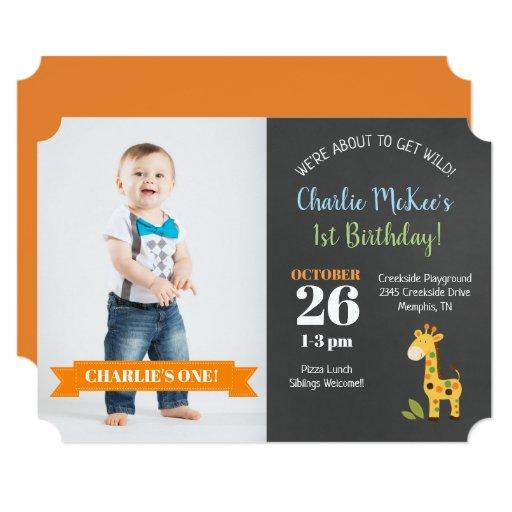 Jungle Giraffe Chalkboard Birthday Die Cut Invite