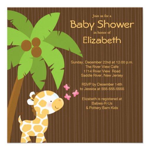 Jungle Giraffe Neutral Baby Shower Invitations