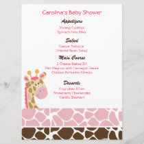 Jungle Giraffe Pink Custom Baby Shower Menu