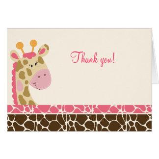 Jungle Giraffe (Pink) Folded Thank you notes