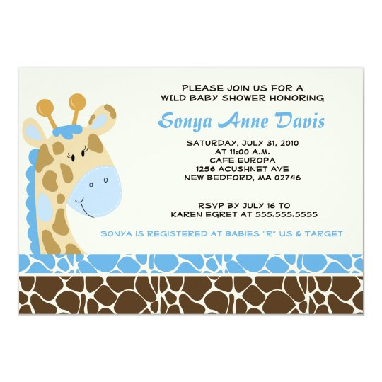 Jungle Giraffe Print (Blue) Baby Shower 5x7 Invite