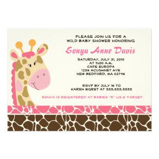 Jungle Giraffe Print Pink Baby Shower 5x7 Invite