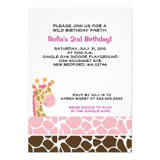 Jungle Giraffe Print (Pink) Birthday Party Invite