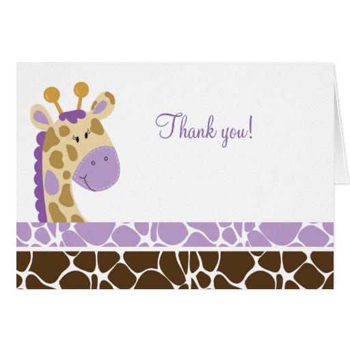 Jungle Giraffe (Purple) Folded Thank you notes