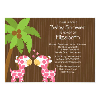 Jungle Giraffe Twin Girls Baby Shower Invitation