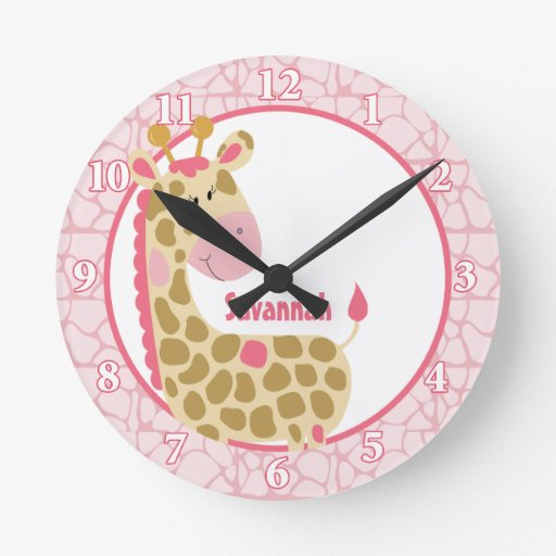 Jungle Giraffe Wall Clock (Pink) Add a Name