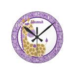 Jungle Giraffe Wall Clock (Purple) Add a Name