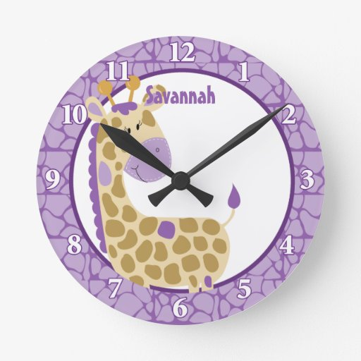Jungle Giraffe Wall Clock (Purple) Add a Name