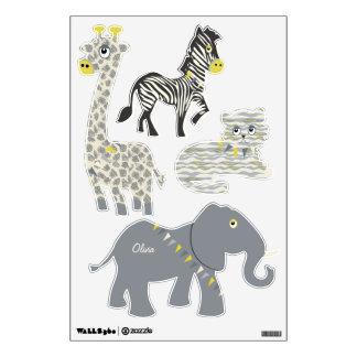 Jungle Giraffe Zebra Tiger Elephant Decal