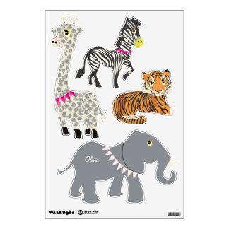 Jungle Giraffe Zebra Tiger Elephant Decal Wall Skin