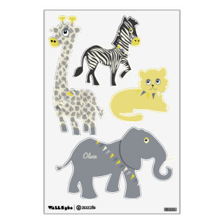 Jungle Giraffe Zebra Tiger Elephant Decal Wall Decal