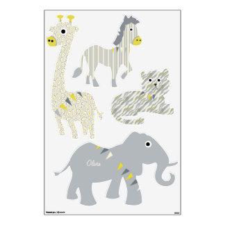 Jungle Giraffe Zebra Tiger Elephant Wall Decal