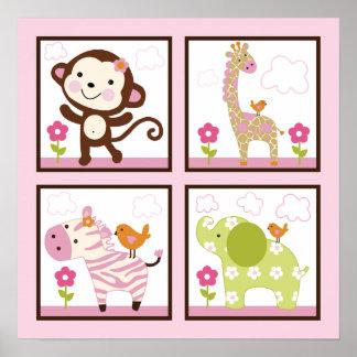 Jungle Girl/Animals Poster/Print Wall Art
