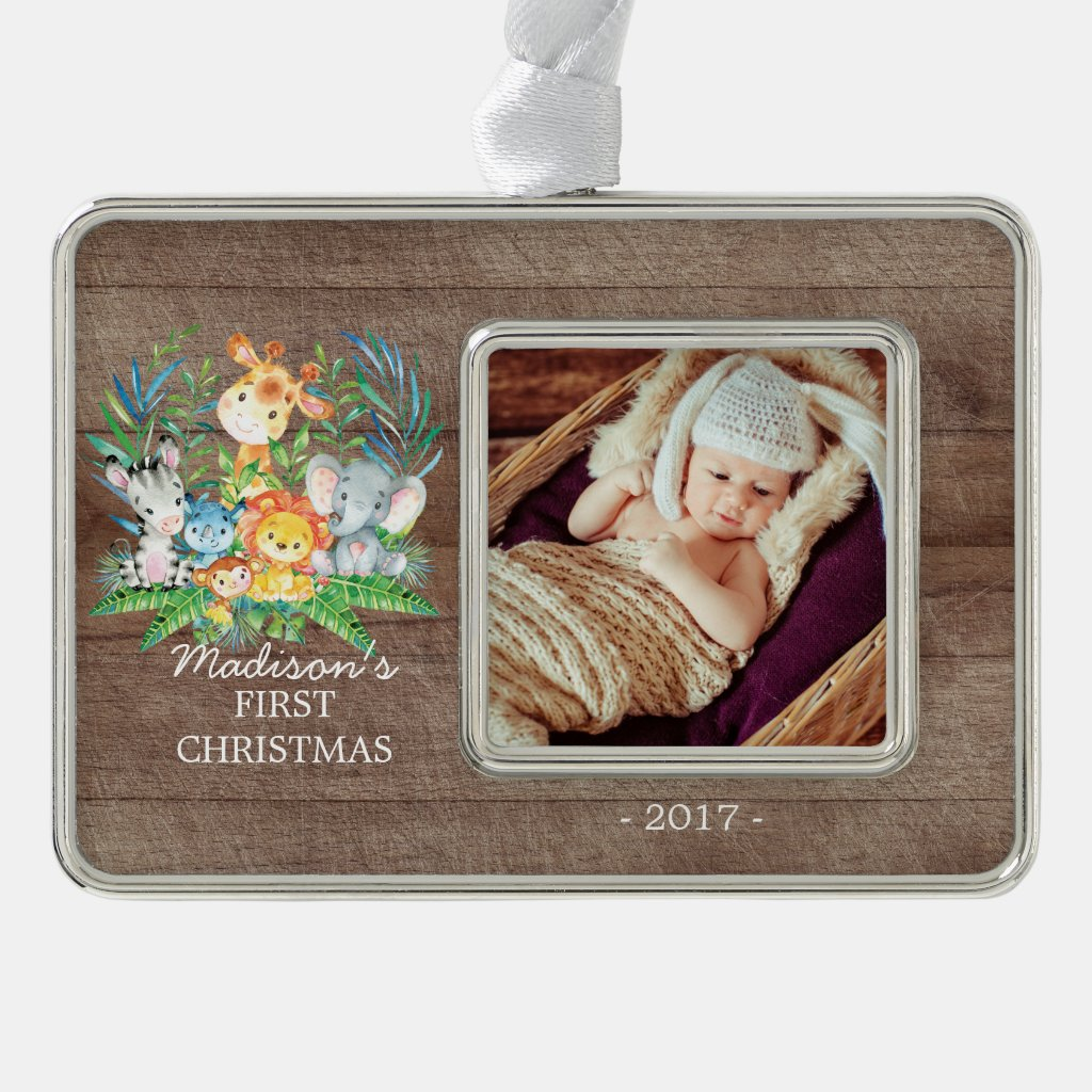Jungle Girls Baby's 1st Christmas Photo Ornament