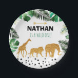 """Jungle gold paper plates Birthday Party name age<br><div class=""""desc"""">Sweet personalized jungle paper plates</div>"""