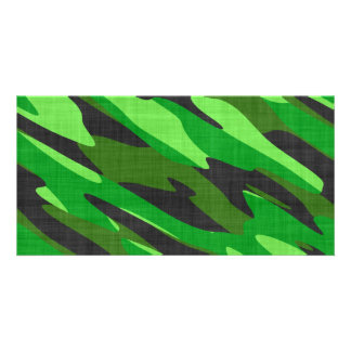 jungle green army camouflage textured customized photo card