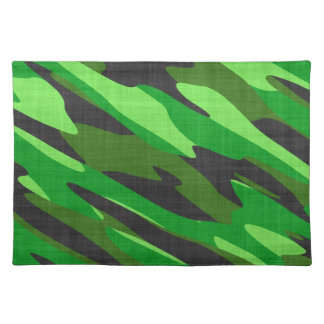 jungle green army camouflage textured placemat