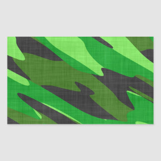 jungle green army camouflage textured rectangular sticker