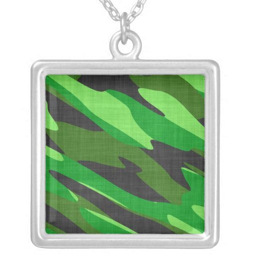 jungle green army camouflage textured square pendant necklace