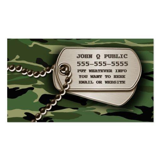 Jungle Green Camo Dog Tags Business Card