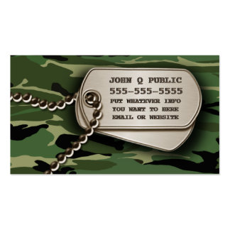 Jungle Green Camo Dog Tags Double-Sided Standard Business Cards (Pack Of 100)