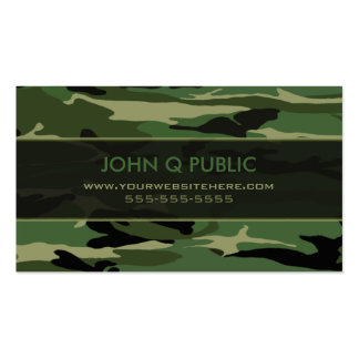 Jungle Green Camo Pattern Business Card Template