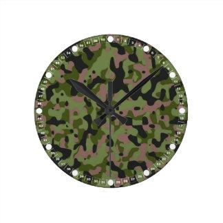 Jungle Green Camo Round Clock