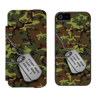 Jungle Green Camo w/ Dog Tags Wallet Case For iPhone SE/5/5s