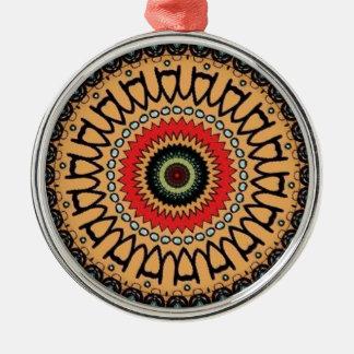 Jungle green pattern round metal christmas ornament