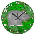 Jungle Hippo cartoon wall clock