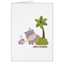 Jungle Hippos Birthday Card