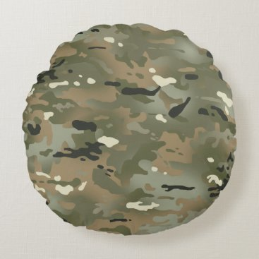Jungle I Camouflage Pattern Round Pillow