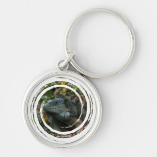 Jungle Iguana Silver-Colored Round Keychain