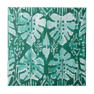 JUNGLE IKAT Hawaiian Green Tribal Tropical Ceramic Tile