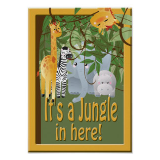 Jungle In Here Animals Party Poster