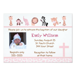 Jungle Invitation Girl Baptism Christening Pink