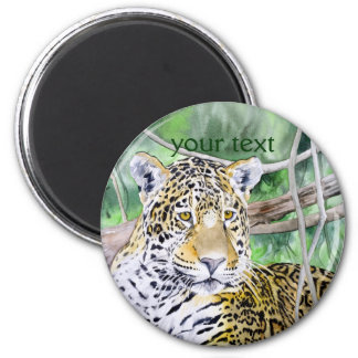 Jungle Jaguar Watercolor Fine Art 2 Inch Round Magnet