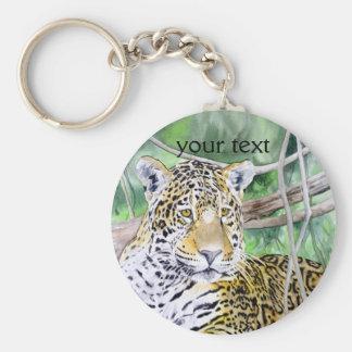 Jungle Jaguar Watercolor Fine Art Basic Round Button Keychain