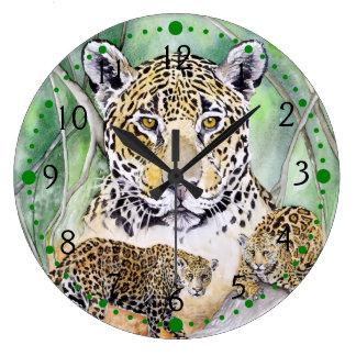 Jungle Jaguar Watercolor Fine Art Wall Clocks